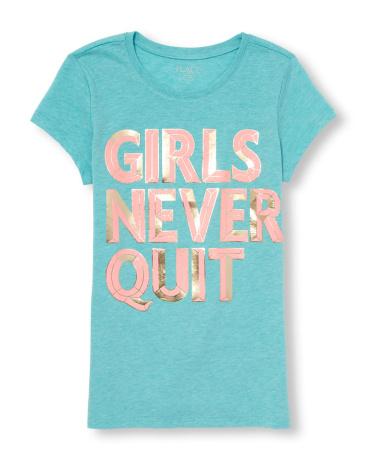 Girls Short Sleeve 'Girls Never Quit' Graphic Tee