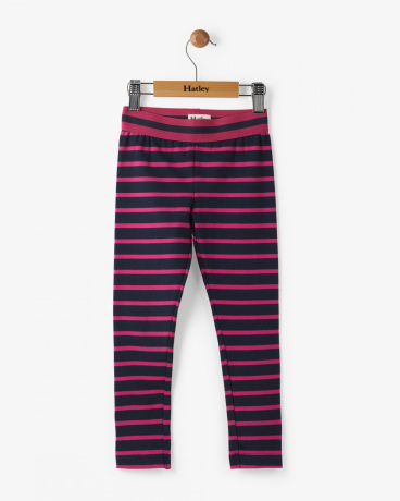 Navy And Fuchsia Stripes Printed Leggings