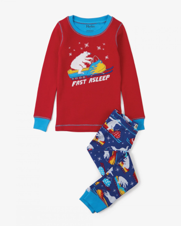 Polar Bear Snowmobile Tricks Appliqué Organic Cotton Pajama Set