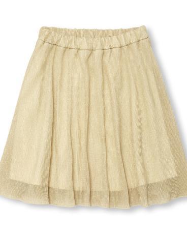 Girls Pleated Metallic Skirt