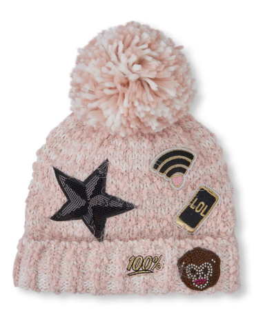 Girls Embellished Patch Pom Pom Beanie