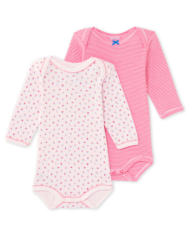 Pack of 2 baby girl long-sleeved bodysuits