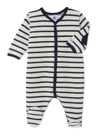 Unisex babies' striped velour sleepsuit