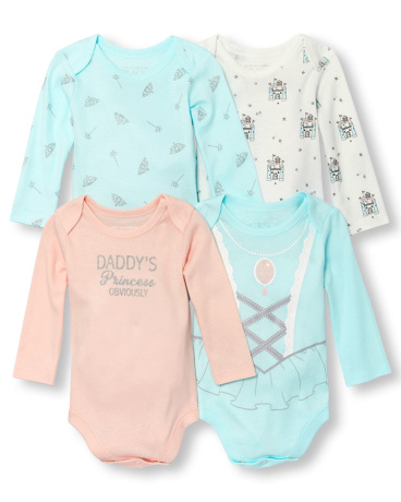 Baby Girls Long Sleeve 'Daddy's Princess Obviously' Bodysuit 4-Pack
