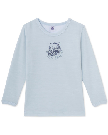 Boys' T-shirt in wool and cotton