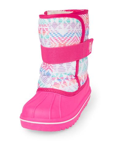 Girls Neon Geometric Print Snowboot