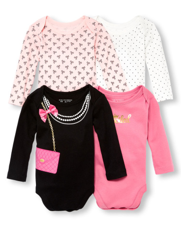 Baby Girls Long Sleeve 'Spoiled' Graphic Bodysuit 4-Pack
