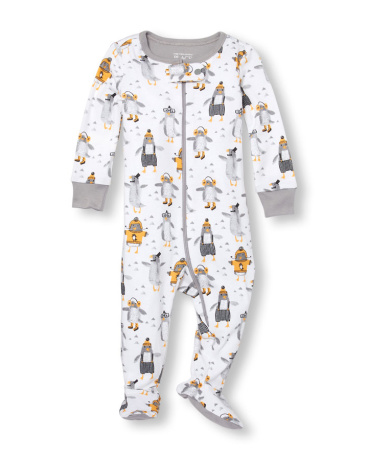 Baby And Toddler Boys Long Sleeve Winter Penguin Print Footed Stretchie