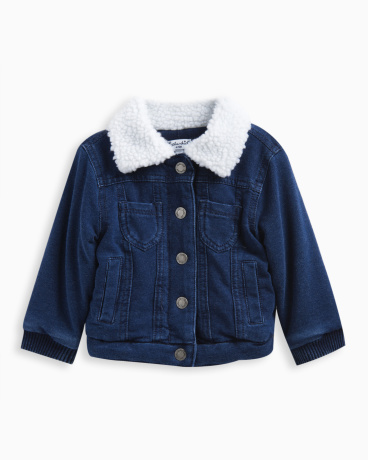 Baby Girl Brushed French Terry Sherpa Jacket
