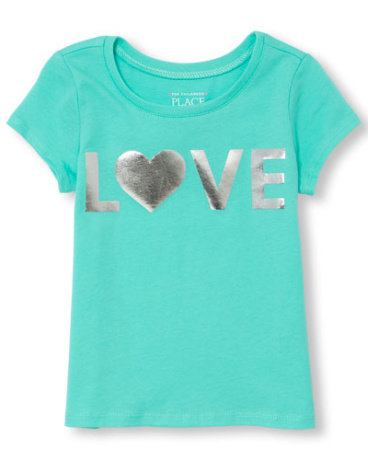 Toddler Girls Short Sleeve 'LOVE' Foil Graphic Tee