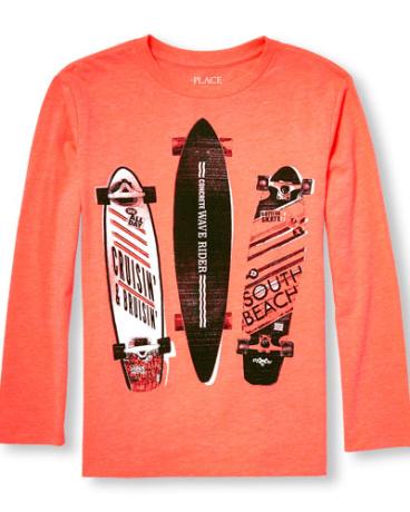 Boys Long Sleeve Skate Board Neon Graphic Tee