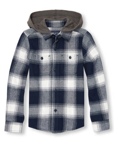 Boys Long Sleeve Plaid Flannel Button-Down Hooded Shirt