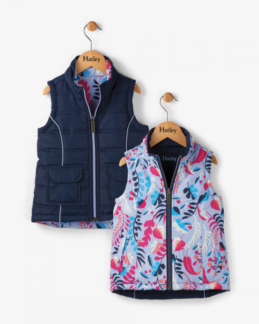 Navy Fronds Reversible Vest