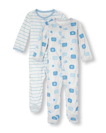 Baby Boys Layette Long Sleeve Family Love Print Sleep And Play 2-Pack