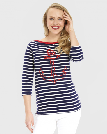 Embroidered Anchor Breton Top