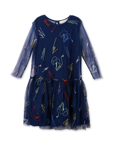 Luna Blue Scribble and Skates Print Dress