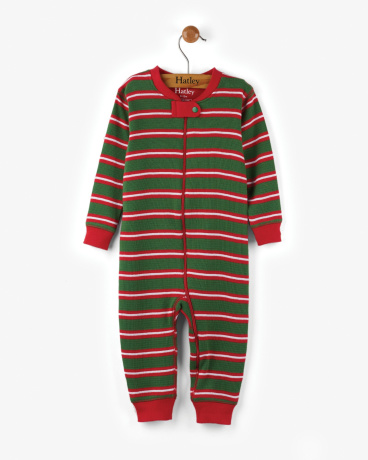 Santa Stripes Organic Cotton Baby Waffle Coverall