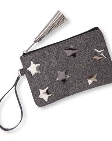 Girls Star Cutout Glitter Wristlet