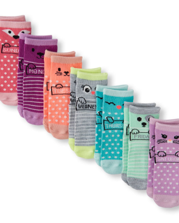 Toddler Girls Stripe And Dot Print Days-Of-The-Week Critter Socks 7-Pack