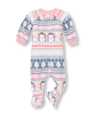 Baby And Toddler Girls Long Sleeve Penguin Fair Isle Print Footed Blanket Sleeper