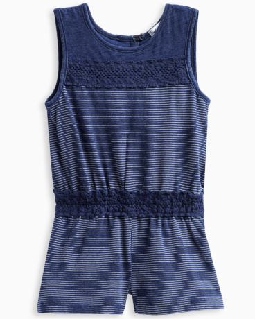 Little Girl Indigo Romper with Lace