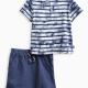 Baby Boy Tie Dye Short Sleeve Henley Tee and Short Set