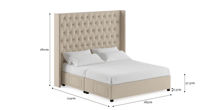 Stella Tall King Size Upholstered Bed Frame with Drawers