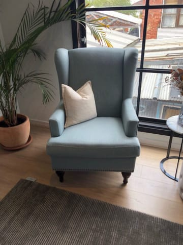 Charles wingback armchair porcelain blue
