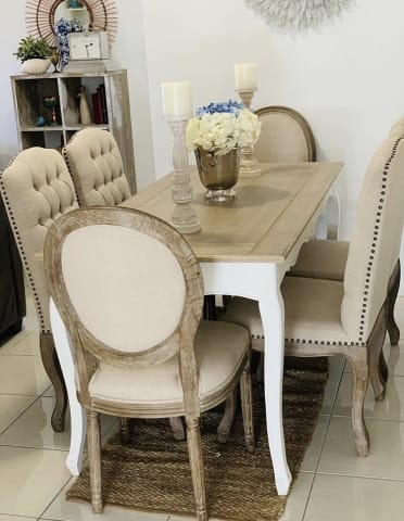 Louis dining chair french beige 03