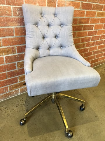 Espen office chair stone grey w brass 01