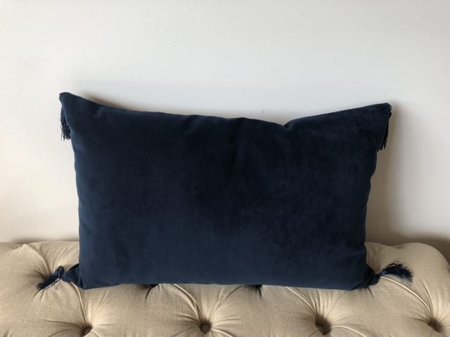 Frans rectangular cushion 60 x 40cm indigo 03