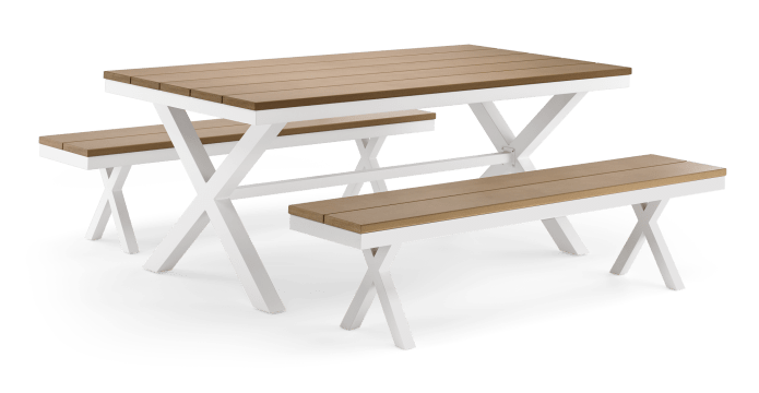 Oleta Outdoor Dining Table and Bench Set