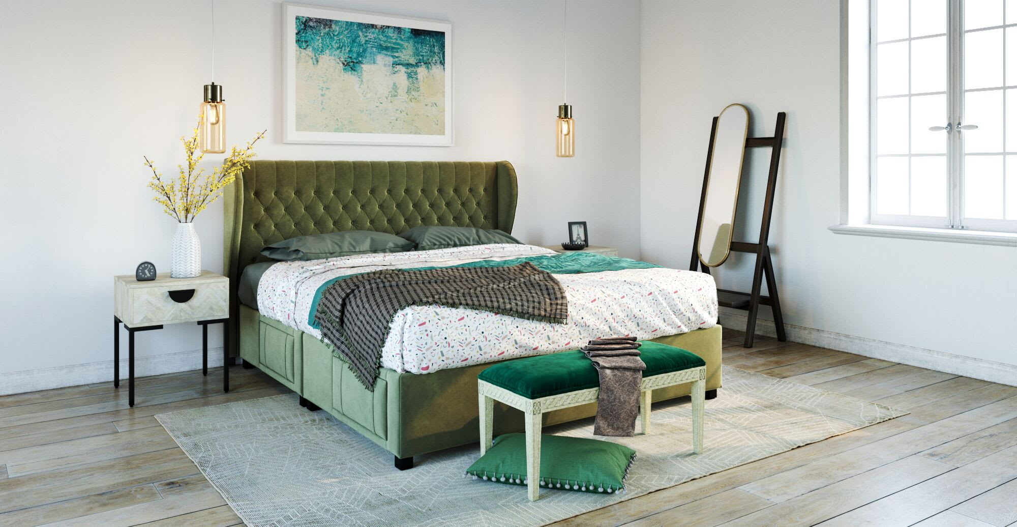 a green bedroom in a designed space