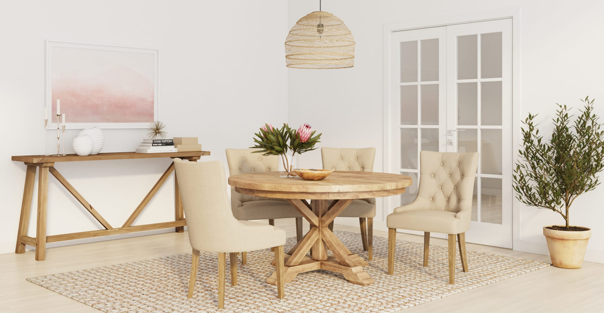 Chablis dining room table and espen dining chairs