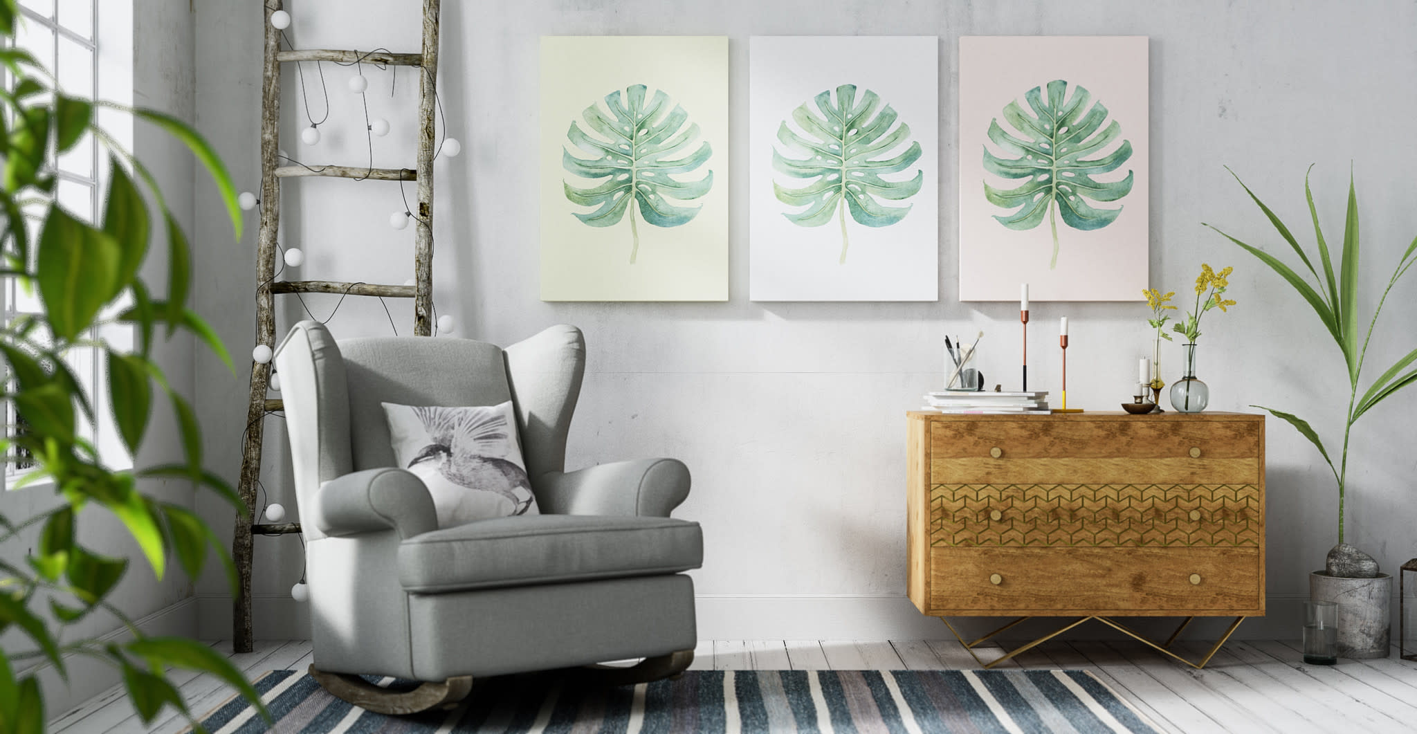 Trio of Monstera Wall Art Prints in Modern Contemporary Style Living Room