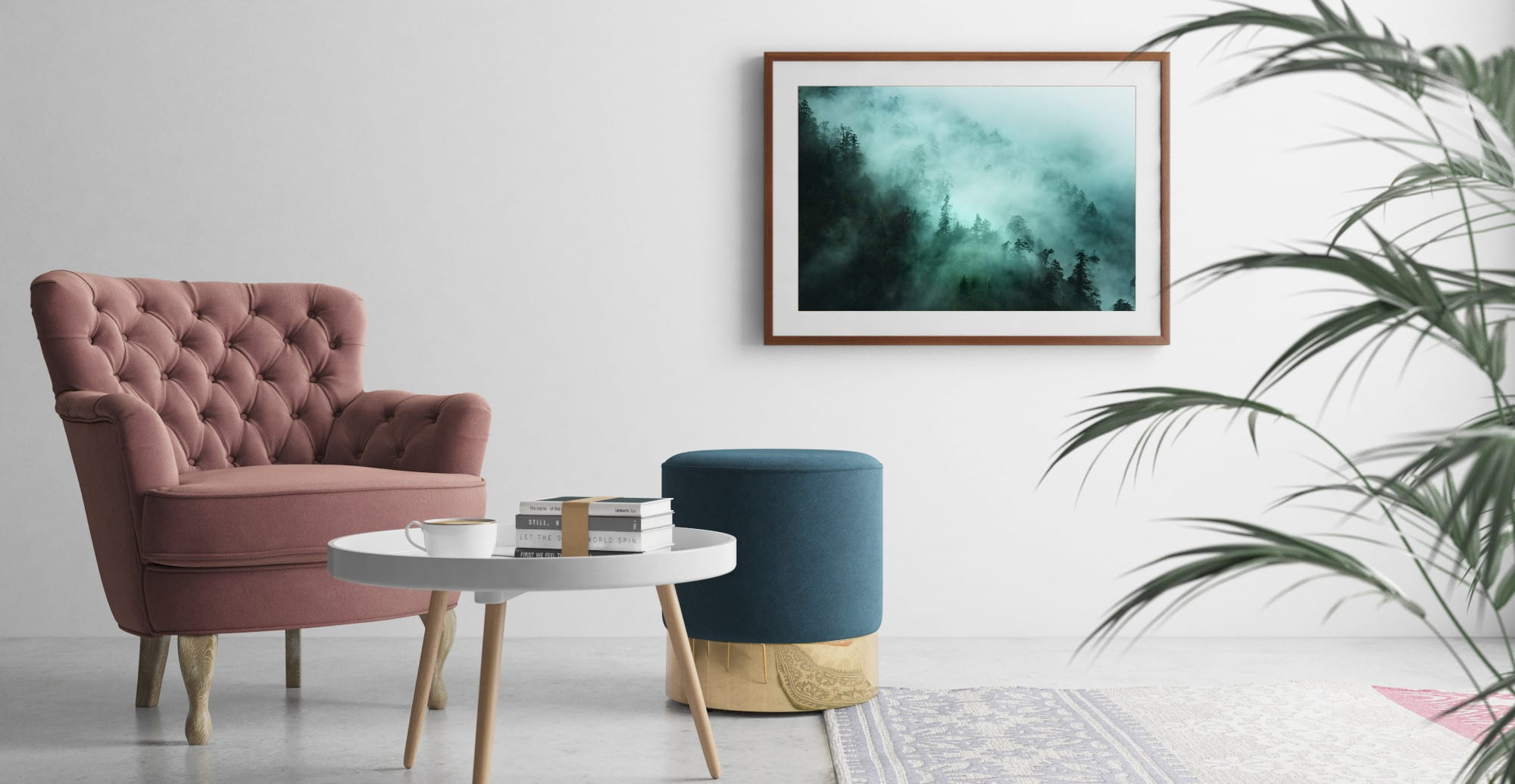 A mist wall print in a designed room