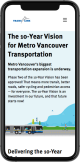 Mobile screenshot showing Translink 10-year vision for Metro Vancouver Transporation page
