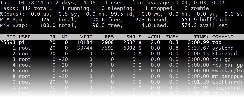 commande top sur raspberry pi 3 B+ raspbian montrant 0.04 charge processeur et 600 O de mémoire libre
