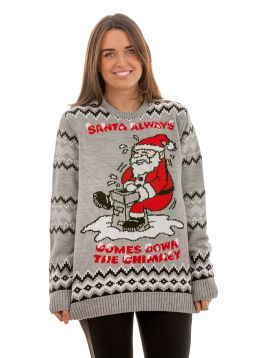 Ugly 'Santa Always Comes Down The Chimney' Sweater For Men - Front View