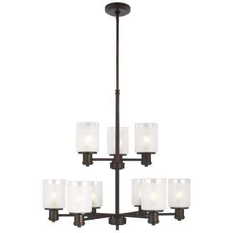 Norwood Nine Light Chandelier Bronze Bulbs Inc