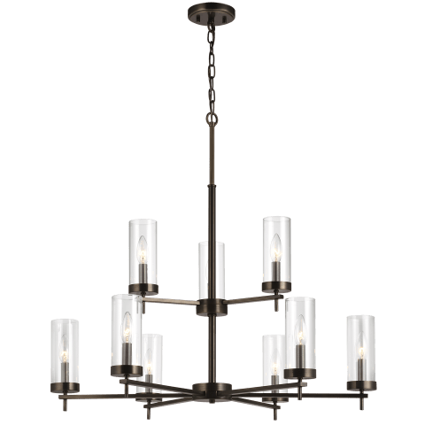 Zire Nine Light Chandelier Brushed Oil Rubbed Bronze