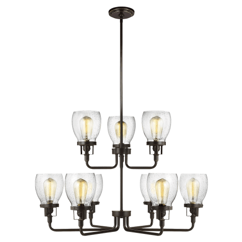 Belton Nine Light Up Chandelier Heirloom Bronze