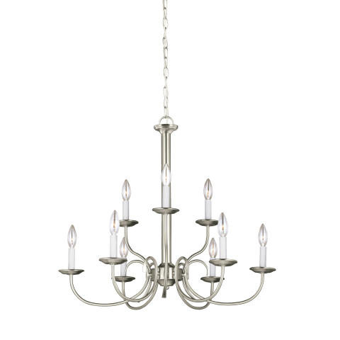 Holman Nine Light Chandelier Brushed Nickel Bulbs Inc