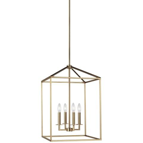 Perryton Medium Four Light Hall / Foyer Satin Brass Bulbs Inc