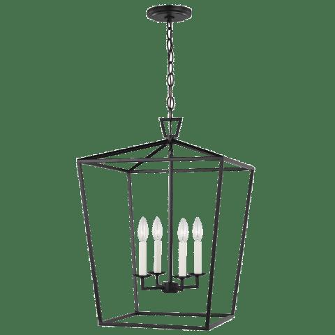 Dianna Four Light Medium Lantern Midnight Black Bulbs Inc