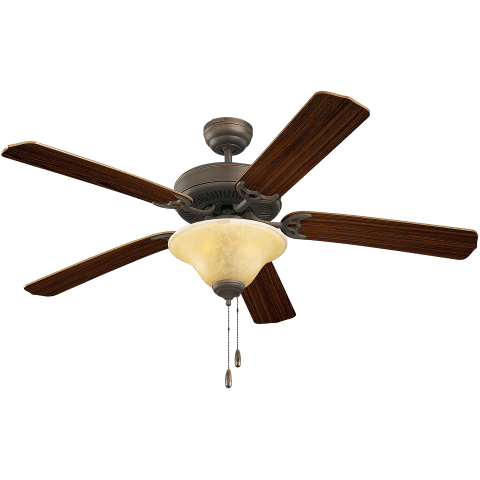 "52"" Homeowner's Deluxe Fan - w/Tea Stain Mission Glass Roman Bronze"