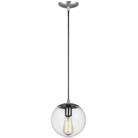 Leo - Hanging Globe One Light Pendant Satin Aluminum