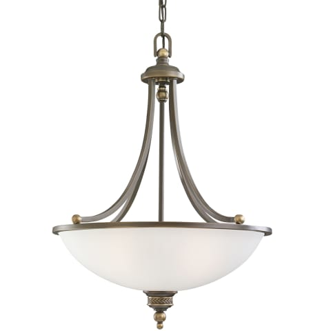 Laurel Leaf Three Light Pendant Estate Bronze