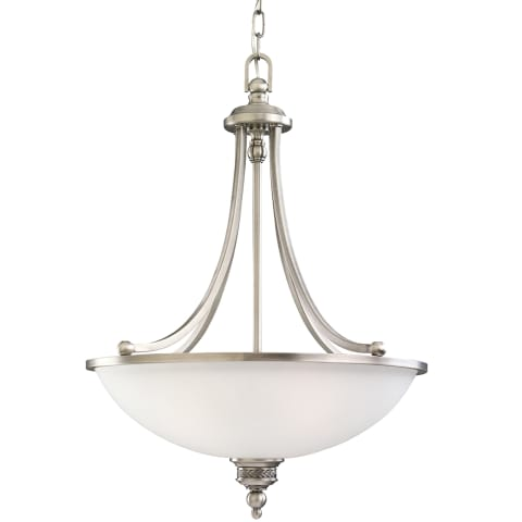 Laurel Leaf Three Light Pendant Antique Brushed Nickel