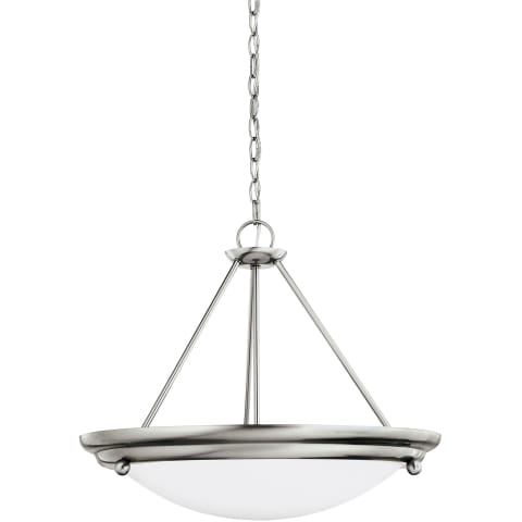 Centra Three Light Semi-Flush Convertible Pendant Brushed Stainless Bulbs Inc